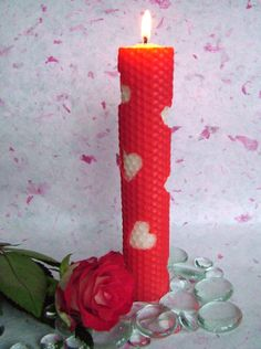 Heart Themed Rolled Wax Candle - The Craft Ark