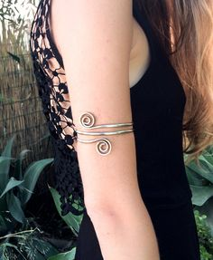 Upper Arm bracelet Silver arm cuff double wrap armlet by SPIRALICA