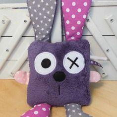 Doudou lapin carré - violet gris rose - réservé