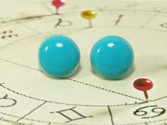 Turquoise Stud Earrings 20mm  Surgical Stainless Steel by biesge, $14.90