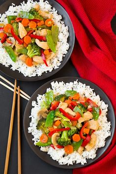 Don't weall needone or two reallygood stir fry recipes in a our dinner rotation? I love stir fry because not only does it tastes delicious butit'sa great way to get a generous serving a veggies in one meal. This one is no exception! It's packed with veggies plus the bonus of a protein (chicken) keeps it filling