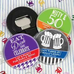 Adult Birthday Personalized Bottle Opener-Crack open a cold one with this cute favor! Our Birthday Bottle Openers are the perfect pocket-sized favor for all of your fun-loving guests. To personalize them, you can choose a pattern, a design icon, 2 co