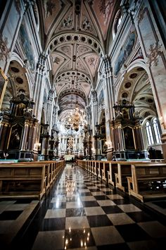 Inside Kaunas Cathedral Basilica. We were inside here this year :)