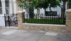 front gardens with wrought iron railings london - Google Search Victorian Front Garden, Victorian Terrace, Victorian House, Garden Railings, Garden Fencing, Garden Path, Victorian Mosaic Tile, Brick Fence, Brick Wall