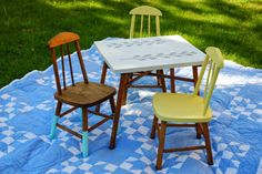 Vintage children's table and chairs set, dip painted
