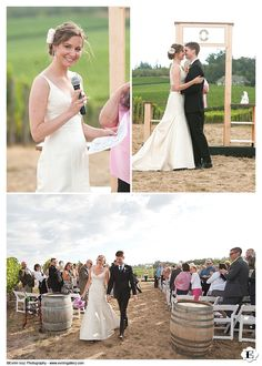 The ceremony can take place outdoors among the beautiful vines at this Methven Family Vineyards Wedding and Wedding reception.