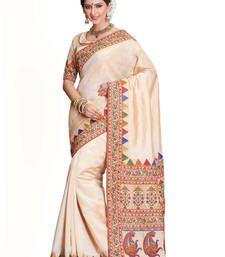 Buy Beige embroidered art_silk saree with blouse tussar-silk-saree online