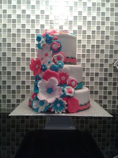 - * pink blue white flowers cake , bleu rose blanc fleurs gateau