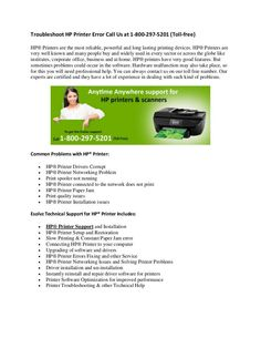 """""""Troubleshoot HP Printer Error Call Us at 1-800-297-5201 (Toll-free)"""" published by """"esolvztech123"""" on @edocr"""