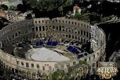 Pula, Croatia - The Pula Arena is the name of the amphitheatre located in Pula, Croatia. The Arena is the only remaining Roman amphitheatre to have four side towers and with all three Roman architectural orders entirely preserved.  It was constructed in 27 BC – 68 AD