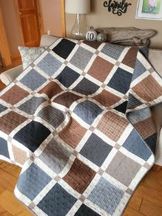 Carried Away Quilting sews a flannel quilt for a college graduate. Fabric: Farmhouse Flannels II by Sweetwater for Moda.