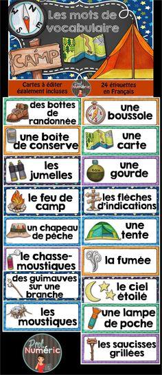 24 mots de vocabulaire sur le thème du #camping. 24 mots-étiquettes pour vos centres de #littératie des #daily5 #frenchteacher #FSL