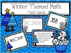 Over 60 winter themed math task cards! → 12 word problems task cards → 16 place value task cards → helpful place value chart → 16 greater than/less than task cards → 16 number pattern task cards  Each set of task cards includes: → 1 Student recording sheet → 1 Teacher answer key  These cards are great for partner work, group work, or whole class activities!
