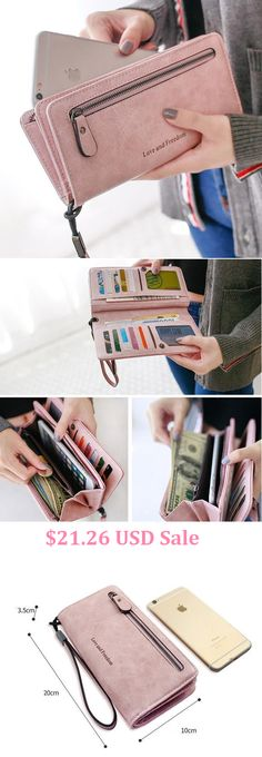 Women Retro PU Leather Clutch Bags Card Holder Wallet Purse,Pink,Blue,Black,Gray,Red and Green Color for You.