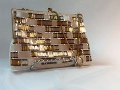 Geometric Design Hand Beaded Evening Bag Wallaeg Bugle Beads Handmade In Hong Kong Silk White Seed Pearls Gold White Silver Gray Bugle Beads by WhiteCabbageVintage on Etsy