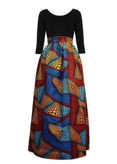 Uma Chic African Print Maxi Skirt (Red/Orange/Blue) African Fashion Skirts, African Wear Dresses, African Fashion Designers, African Inspired Fashion, African Print Fashion, African Attire, African Clothes, African Print Skirt, Printed Maxi Skirts