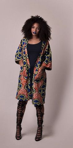 African print jacket. African print jacket mid length. Mid length jacket. Two front pockets. Ankara | Dutch wax | Kente | Kitenge | Dashiki | African print dress | African fashion | African women dresses | African prints | Nigerian style | Ghanaian fashion | Senegal fashion | Kenya fashion | Nigerian fashion (affiliate)