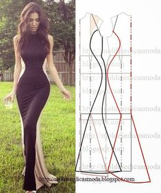 Diy dress pattern Love the look. Fashion Sewing, Diy Fashion, Ideias Fashion, Pattern Cutting, Pattern Making, Diy Clothing, Sewing Clothes, Dress Sewing Patterns, Clothing Patterns