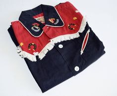 Vintage Roy Rogers and Trigger Fringed Cowboy Frontier Shirt, Child's Size Black and Red, Rob Roy Brand by Retrorrific on Etsy Little Cowboy, Roy Rogers, Western Theme, Red Shirt, White Fabrics, Buttonholes, Overalls, Objects, Size 12