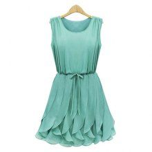 Women's Chiffon Solid Color Strappy Beam Waist Plicated Flounces Ladylike Dress