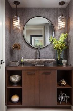 Contemporary Powder Room with Uttermost Frameless Oval Beveled Vanity Mirror…