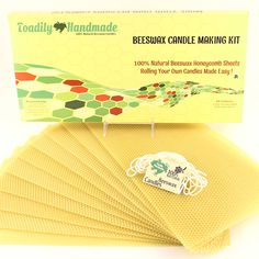 Make Your Own Beeswax Candle Kit - Includes 10 Full Size 100% Beeswax Honeycomb Sheets in NATURAL and Approx. 6 Yards (18 Feet) of Cotton Wick. Each Beeswax Sheet Measures Approx. 8' x 16 1/4'. >>> See this great product.