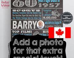 Printable Birthday Facts ~ Personalised 70th birthday 1947 chalkboard printable british