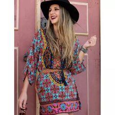 preciosos vestidos remerones mini bohemian boho importados.