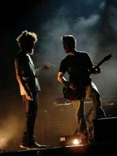 "Brad Delson - Mike Shinoda - It was like ""...ummm sorry buddy, that's my guitar...."" LOL"