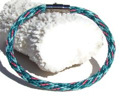 NEW Teal and pink kumihimo bracelet with by SweetEscapeBracelets, $7.49  ...  20 strands / DMC floss