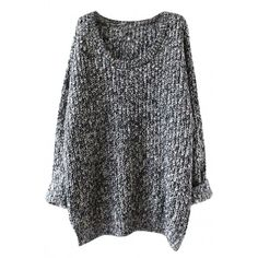 Oversized Scoop Neck Loose Fit Chunky Knit Sweater ($22) ❤ liked on Polyvore featuring tops, sweaters, deep grey, loose fitting tops, round neck sweater, oversized sweater, grey long sleeve sweater and over sized sweaters