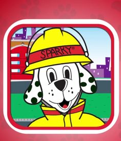 Sparky's Birthday Surprise is a great fire safety app. Sparky, a fire-dog, guides your child through interactive games, activities and even. Fire Prevention Month, Fire Safety Week, Spelling Activities, Help Teaching, Elementary Schools, Homeschool, Community Helpers, Sparky The Fire Dog, Safety App