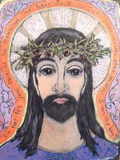 CHRIST AND THE Crown Of Thorns  Retablo  Print by Art4thesoul, $30.00