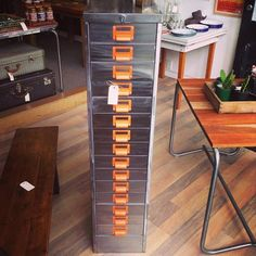 Industrial stripped metal 15 drawer cabinet - The General Store