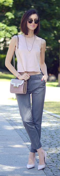Pink And Grey Casual Chic Outfit by Daisyline