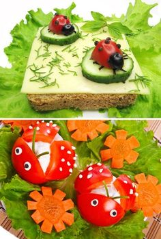 vegetable tray ideas | Veggie/Fruit Tray Display Ideas / Ladybug tomatoes. We love these for ...