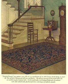 """""""Hartford-Saxony"""" rug, pattern 1100, color 6, is a reproduction of an 18th C Sarook design, in which the Tree of Life is interspersed with trees and flowers. The all-over covering of the ground makes this an excellent rug for reception halls. It would also make a rich looking living room, if combined with ... drapes of mulberry damask. (From 1925 rug catalog.)"""