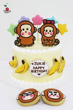 Sanrio Monkichi Cake Monkey Cake Icing cookies
