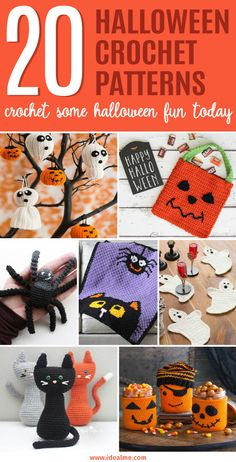 Get really creative with these 20 crochet patterns perfect for Halloween. Grab your hook and yarn and start making adorable Halloween creations now. Crochet Fall, Holiday Crochet, Crochet Gifts, Crochet Motif, Crochet Designs, Crochet Toys, Free Crochet, Crochet Flowers, Halloween Crafts