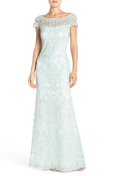 Free shipping and returns on Tadashi Shoji Lace Column Gown (Regular & Petite) at Nordstrom.com. Lavish corded lace adds regal power to the figure-skimming silhouette of this illusion-yoke gown.