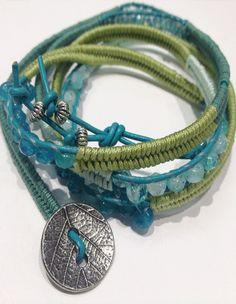 Chinese Cord Herringbone Leather Wrap Bracelet