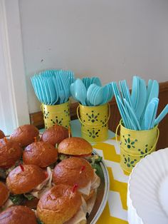 Hosting a Baby Shower - via So There. by Amy.  Turquoise, Yellow, and Grey. Twinkle Twinkle Little Star theme.