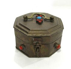 Vintage Brass Trinket Treasure Box set with Turquoise Color & Coral Color Stones
