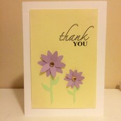 Thank You Card  Thank You Purple Daisies by PrettyWittyPaper