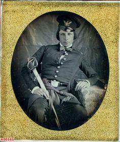 ca. 1846, [daguerreotype portrait of Lt. George H. Gordon, U. S. Mounted Rifles]  via the Daguerreian Society, William J. Schultz Collection