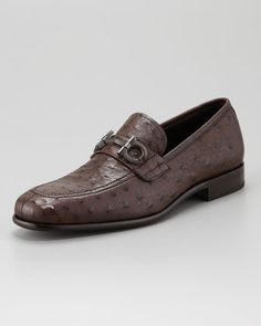 Tommaso Ostrich Bit Loafer by Salvatore Ferragamo at Neiman Marcus.