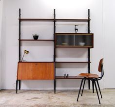 Louis van Teeffelen; Wood and Glass Wall Unit for Webe, 1960s.
