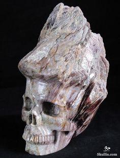Lepidolite Cluster Crystal Skull