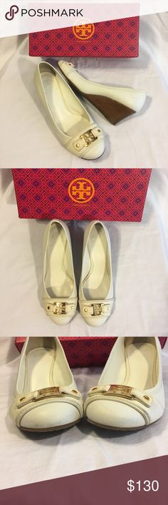 476c4c21b5ef9 TORY BURCH WEDGES Beautiful TORY BURCH WEDGES Withe color excellent  condition including box. True size