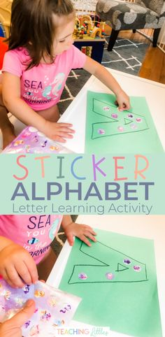 If your toddler is interested in learning their alphabet, teach them the letters using this fine motor activity. Peeling stickers onto a large letter is great way to use a multi-sensory approach to learning. Teaching Toddlers Letters, Preschool Letters, Alphabet Activities, Preschool Learning, Teaching Ideas, Sensory Activities Toddlers, Infant Activities, Letter A Crafts, Fine Motor